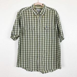 Carhartt Green Plaid Button Up Short Sleeve Shirt